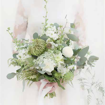 Seed Head Foliage and White Flower Wedding Bouquet