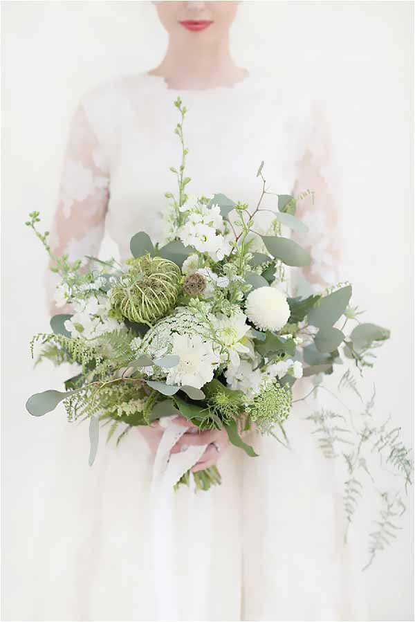Seed Head Foliage and White Flower Wedding Bouquet with trailing foliage