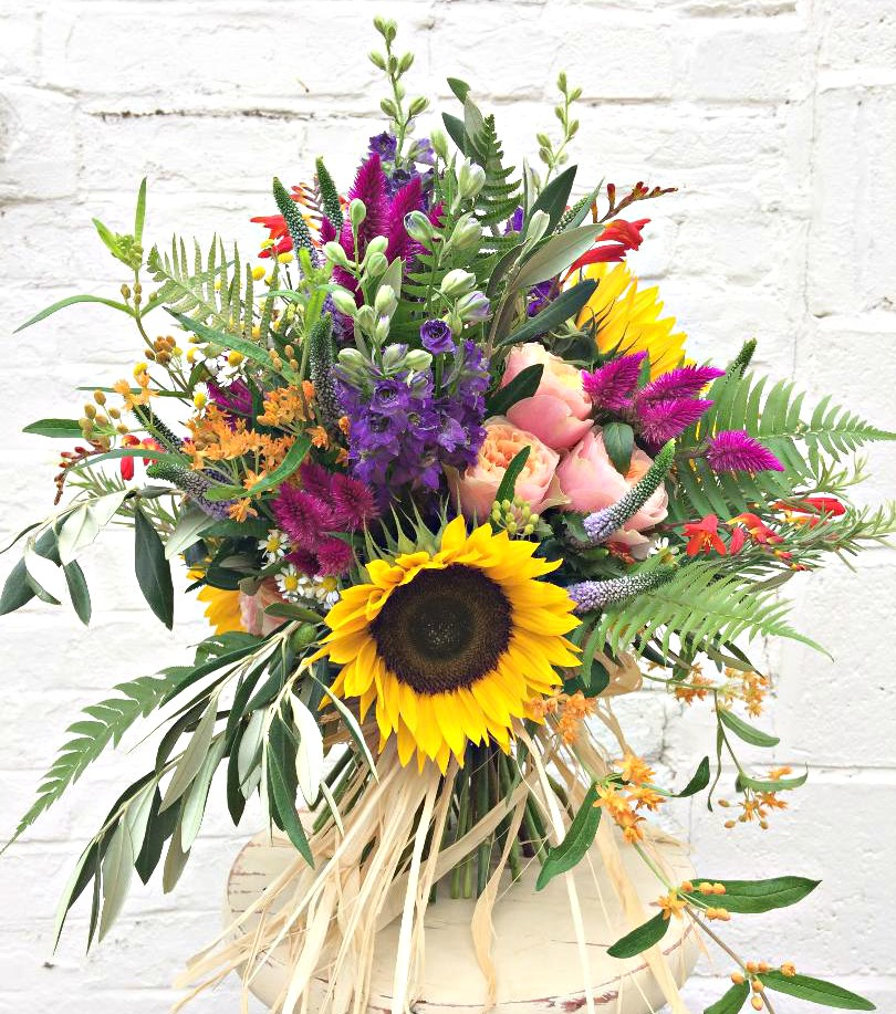 vibrant summer sunflower bouquet bridal flowers