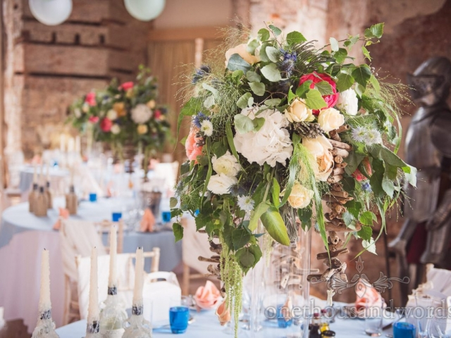 luxury-table-centrepiece-lulworth-castle-wedding-venue-coastal-theme-wedding-peony-hydrangea