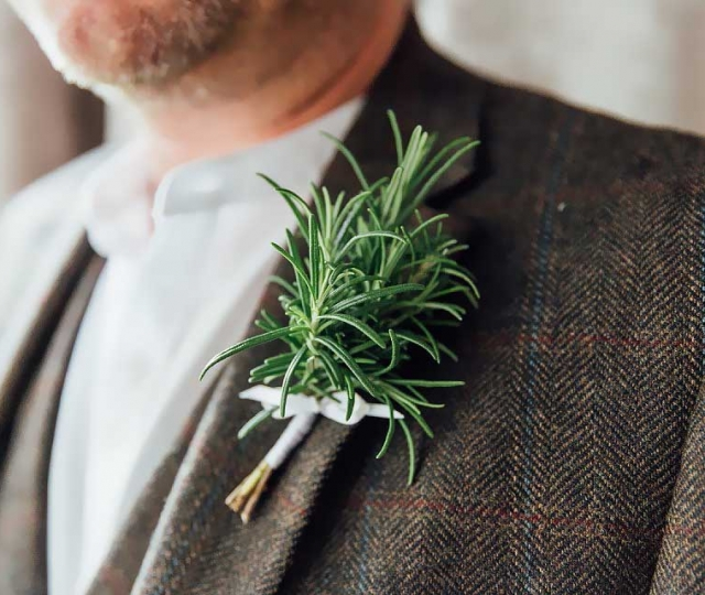 simple rustic foliage rosemary buttonhole