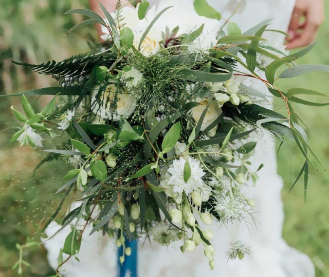 Wild textured foliage bouquet, rustic bouquet, garden bouquet, bridal bouquet, foraged, white rose, white peony