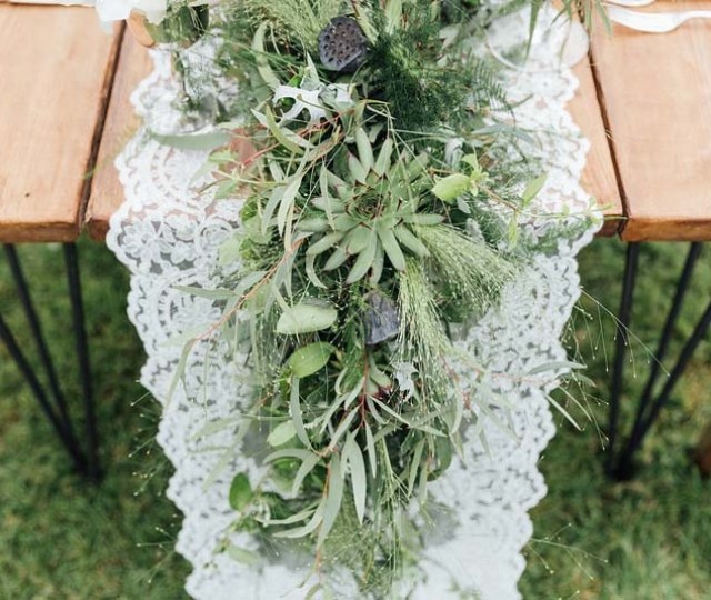 foliage and lace table runner succulents eucalyptus grasses ferns