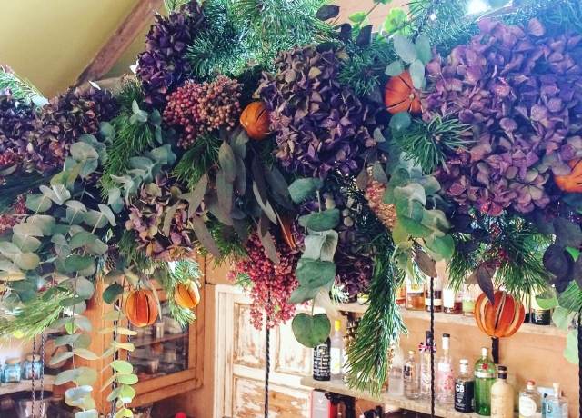 textured, foliage, Christmas. garland, purple. glitter, hydrangea, dried oranges