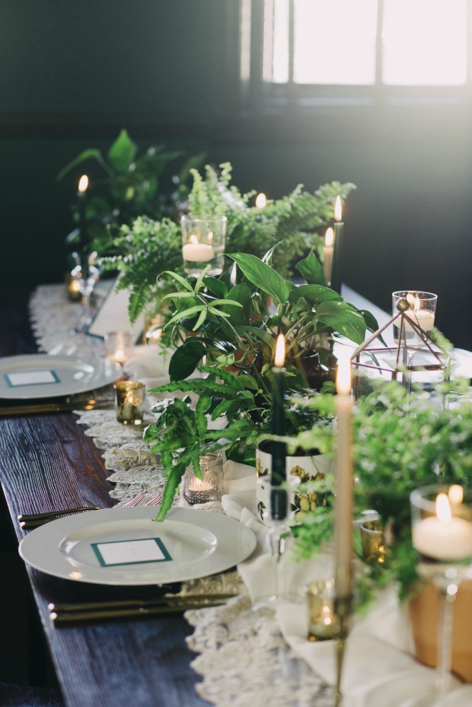 Plant, foliage, gold candlestick, tea light, tablescape, table centrepiece, wedding