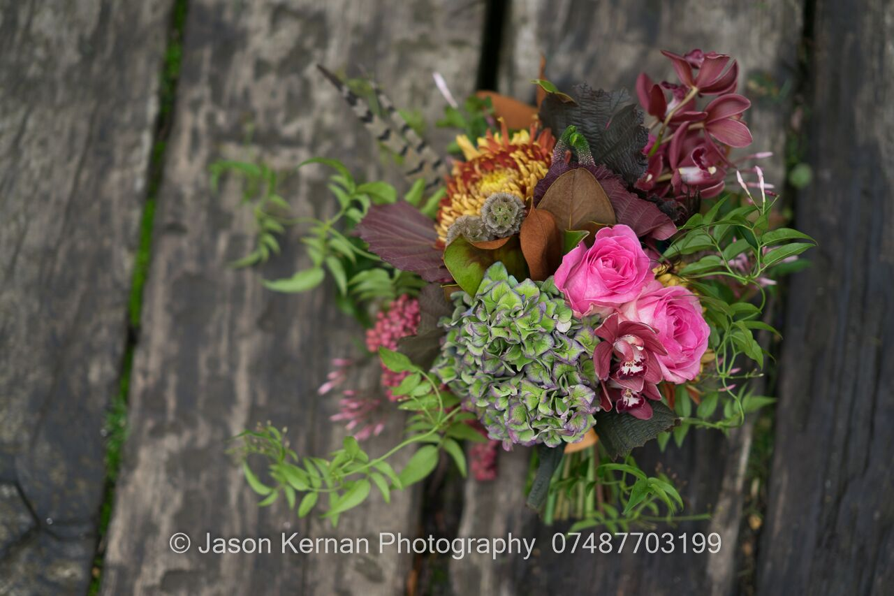 Rose, hydrangea, orchid, rustic, bridal, bouquet, wedding, autumnal, foliage, vibrant, sopley mill