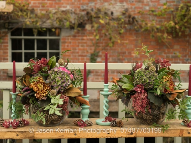 wedding, table centrepiece, tablescape, candlestick, rustic, flowers, autumn, textured, foliage,