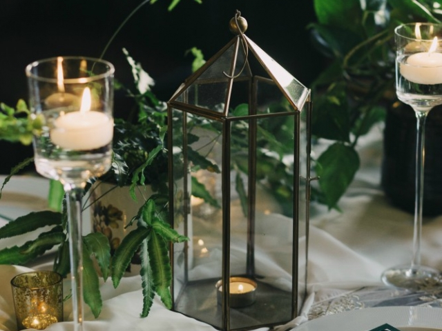 Plants, foliage, gold terrarium, candlestick, tealight, tablescape, table centrepiece, wedding