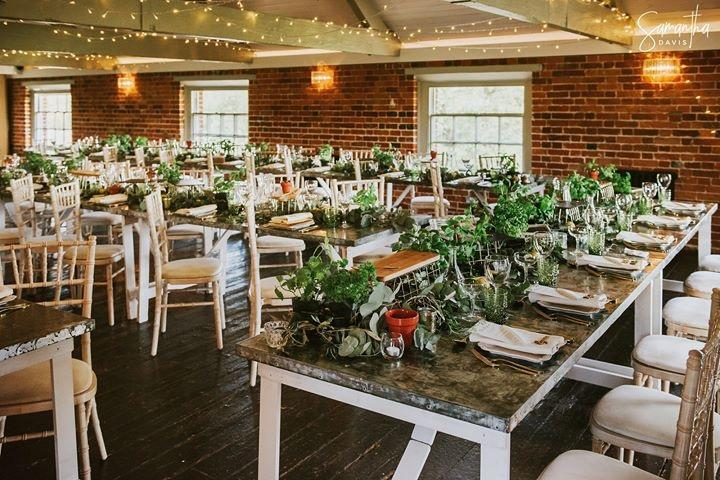 Herb, foliage, tablescape, foliage table runner, table styling, banquet tables, sopley mill wedding, table centrepiece