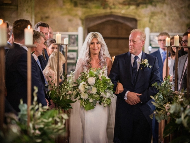 Lulworth castle wedding, church wedding, walking the aisle, bride, saying i do, bridal flowers, bridal bouquet, dorset, hampshire, wlitshire