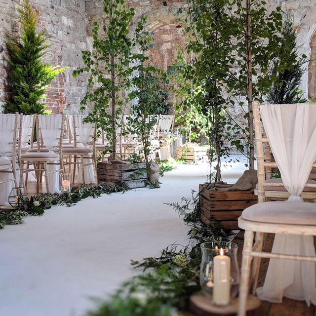 Lulworth castle ceremony, wedding, Birch tree wedding aisle, dorset, wedding flowers