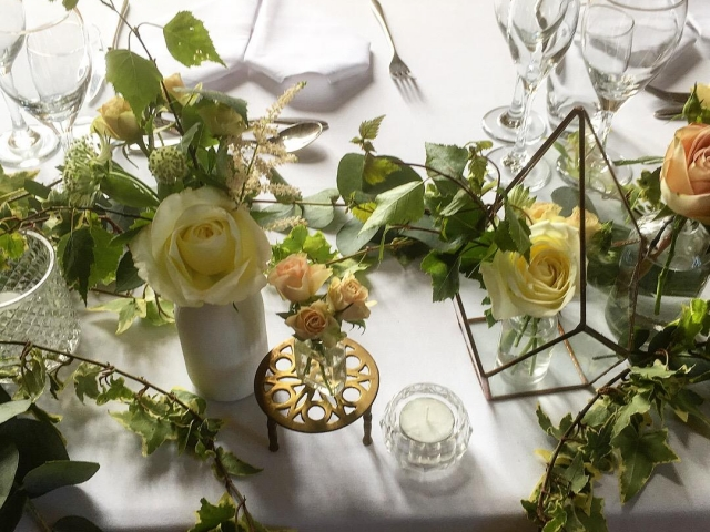 terrarium , tea light, candlestick, floral jam jar, top table flowers, tablescape, lulworth castle