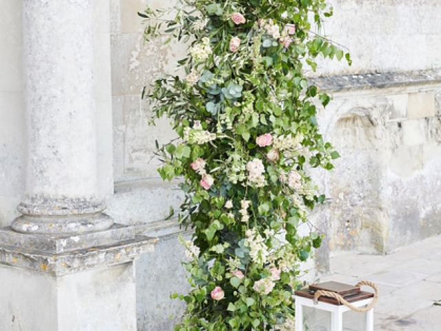 garden flower floral column, green and white, garden rose, foraged foliage, lulworth castle, wedding flowers, wedding florist, Dorset, Hampshire