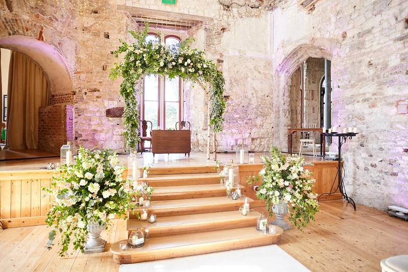 Lulworth castle floral arch, birch arch, garden flowers, rustic flowers, wedding flowers, wedding florist, Dorset, Hampshire