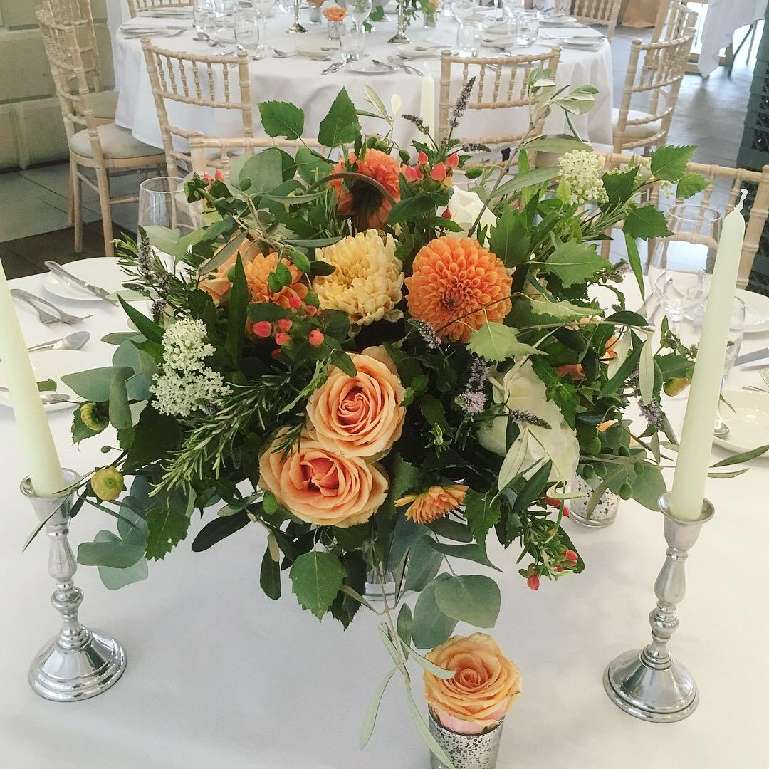 RUSTIC WILD SILVER URN TABLE CENTREPIECE PEACH ROSE ORANGE DAHLIA SILVER CANDLESTICK ITALIAN VILLA WEDDING FLOWERS