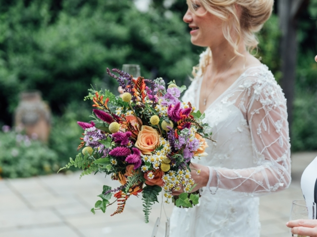 vibrant floral wedding bouquet, bridal bouquet, garden flowers, quirky flowers, rustic flowers, wedding florist, dorset, hampshire