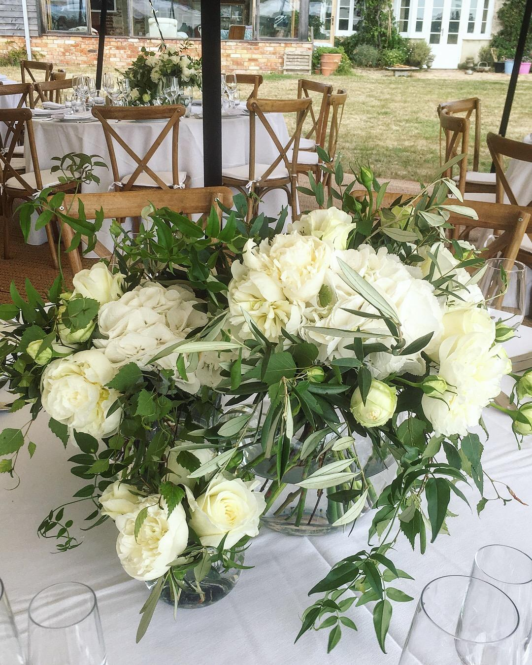 White peony, white hydrangea, jasmine, eucalyptus, bridal bouquet, bridal flowers, new forest Dorset, short table centrepiece, Wedding flowers