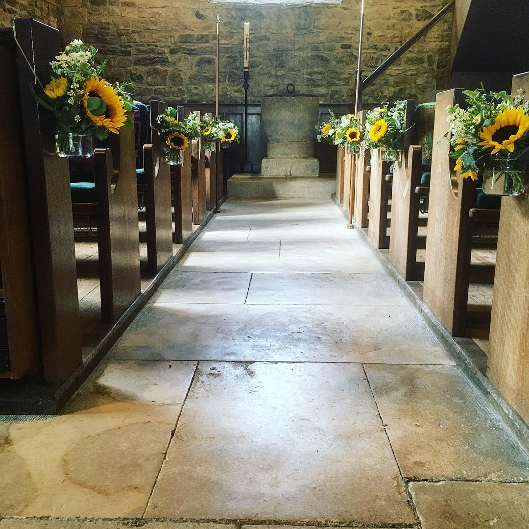 Church pew end flowers, sunflowers, church flowers, aisle flowers, floral jam jar, Dorset