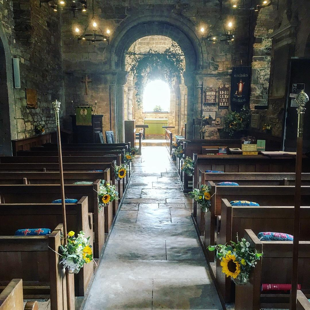 Church wedding, pew ends, foliage arch, summer flowers, summer wedding, floral jam jar, dorset