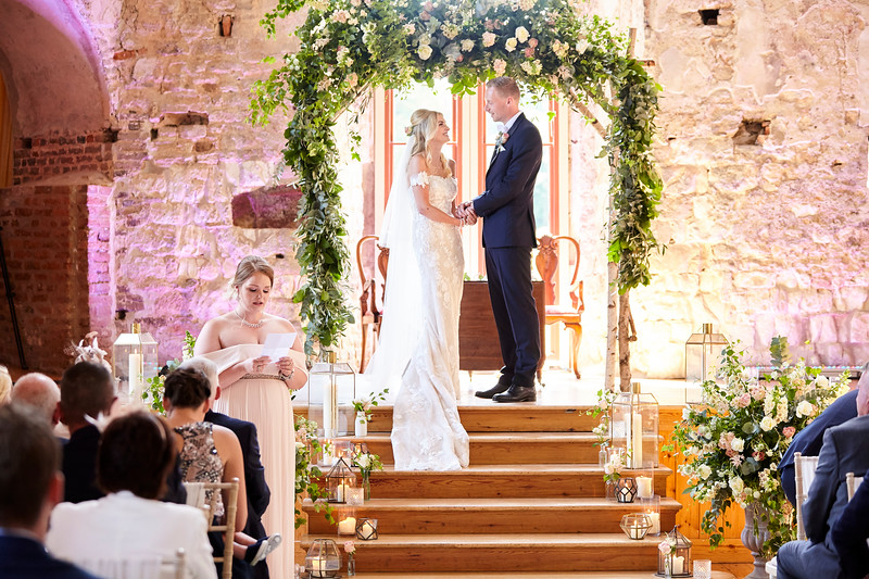 Floral arch lullworth castle wedding, ceremony flowers, birch wood arch
