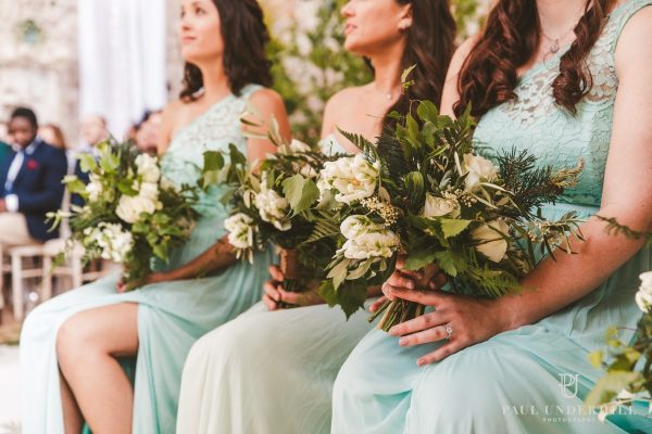 SPRING TULIPS TEXTURED FOLIAGE BRIDESMAIDS BOUQUETS