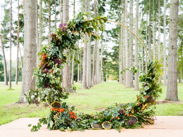 rustic woodland ceremony moon gate floral arch ceremony flowers dorset wedding wedding florist