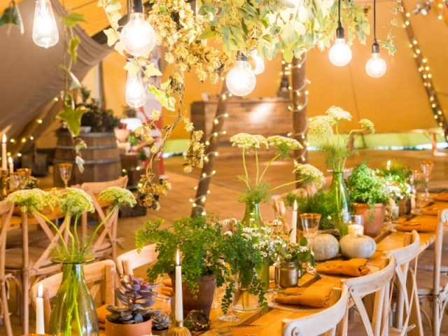 tablescape, table centrepiece, hanging foliage ladder, ferns, pumkins, candlestick, wedding flowers, woodland wedding, dorset wedding, wedding florist