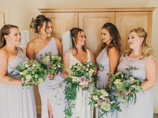 textured foliage, lilac rose, bridal bouquet, bridal flowers, wedding flowers, bridesmaids bouquets, messy bouquet, foliage bouquet, dorset