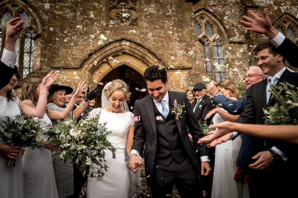 Axnoller church wedding Dorset bride and groom wedding day foliage bouquet