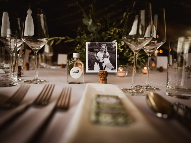 Black and white photo table setting. wedding styling, wedding flowers, Axnoller west dorset