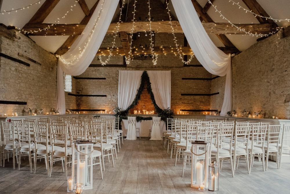 ceremony styling wick farm wedding bath, aisle decor, foliage garland, drapes, candlelight, tea lights, candlesticks, flowers