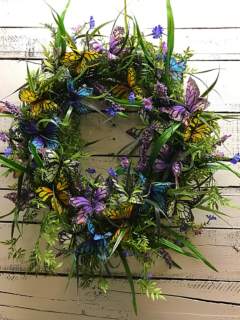 Butterfly funeral wreath sympathy flowers