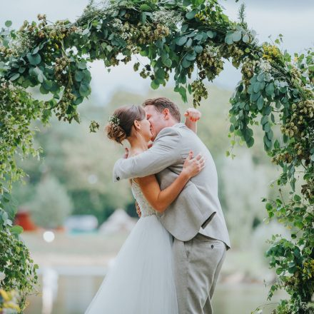 HOP AND FOLIAGE MOONGATE SOPLEY LAKE DORSET OUTDOOR CEREMONY FLOWERS