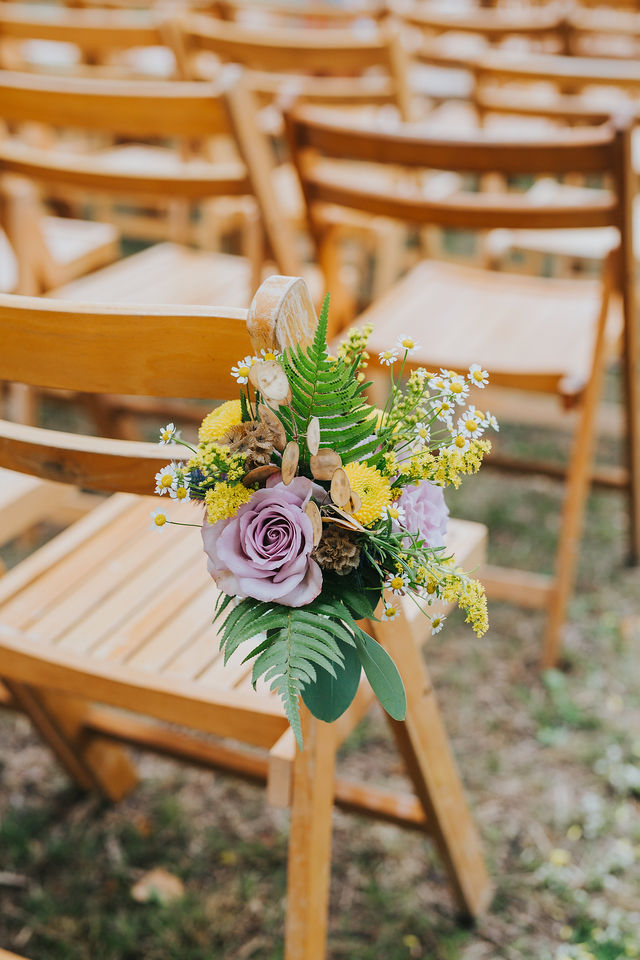 Rustic chair flowers, floral jam jar, aisle flowers, pew end, ceremony flowers, sopley Lake, dorset, hampshire