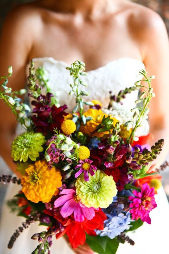 Bold garden flower bridal bouquet, wedding flower inspiration