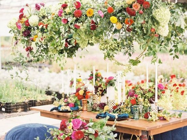 Hanging floral garden wedding flowers, floral swing, table centrepiece, tablescape, boho