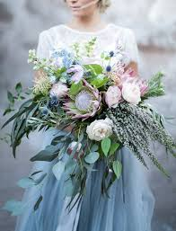 Rustic wedding, blue dress, boho style bridal bouquet, wedding flower inspiration