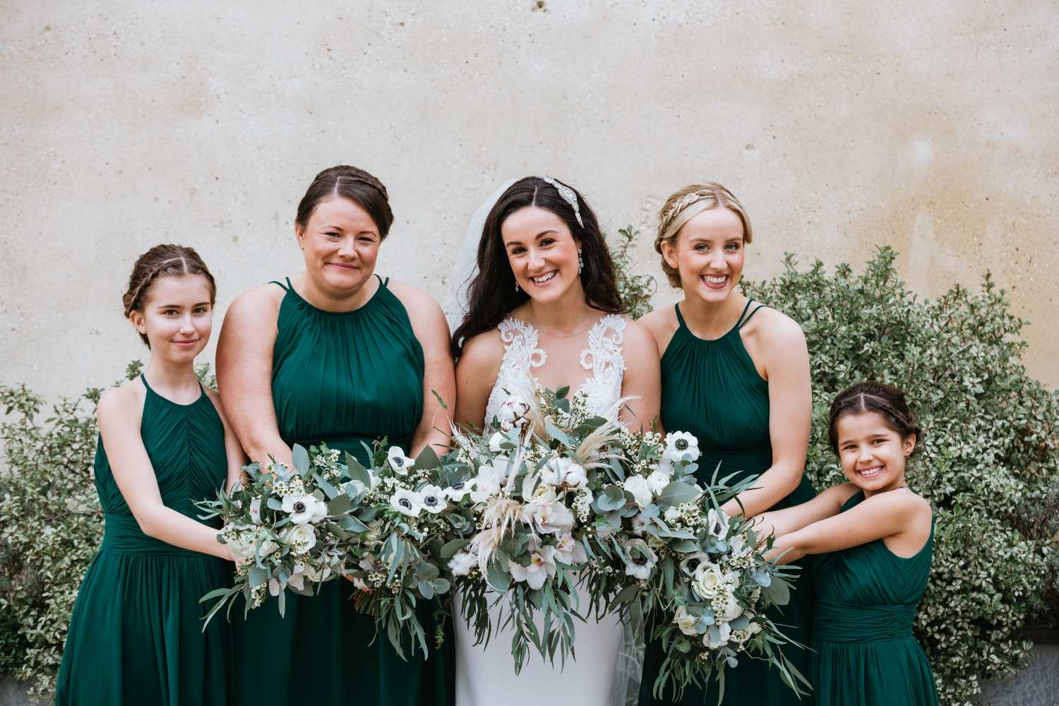 textured foliage emerald green and white bride and bridesmaids bouquets, luxury wedding flowers, florist, Dorset, Hampshire, Wiltshire