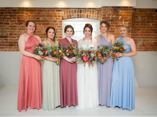 bride and brideamids garden flower bouquets sopley mill dorset