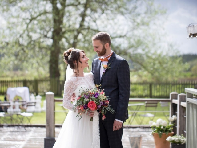 bride and groom, bridal bouquet, wedding flowers dorset sopley mill