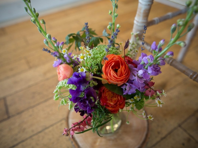 floral jam jar, aisle decor, ceremony flowers, sopley mill dorset