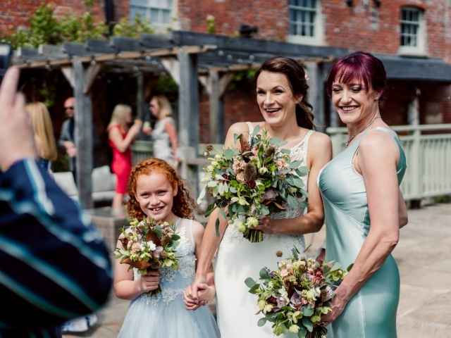 Bride and bridesmaids at sopley mill wedding dorset, hampshire, rustic, bouquets, wedding flowers