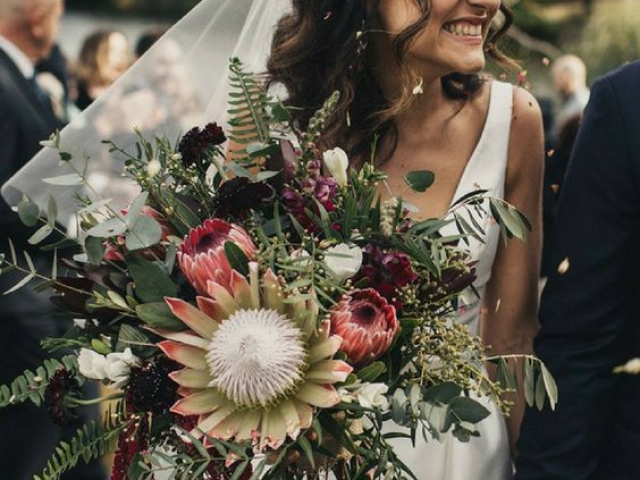 Boho brides bouquet, tropical flowers, rustic bouquet, protea, wedding flowers dorset, hampshire