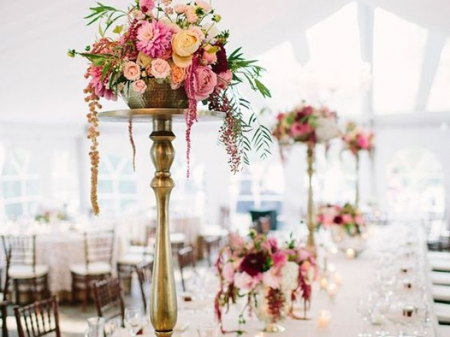 Tall and short table centrepiece, wedding flowers, luxury flowers, gold candlestick, dorset, hampshire