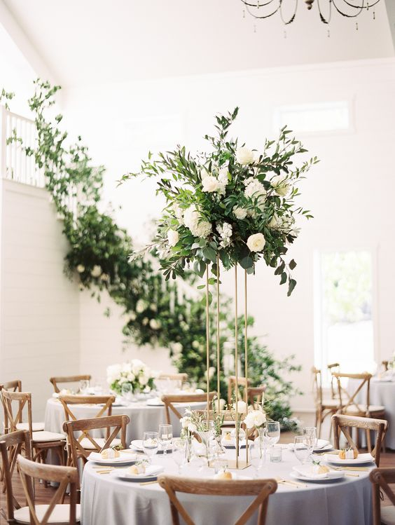 Tall and short table centrepiece, wedding flowers, luxury flowers, green and white, dorset, hampshire