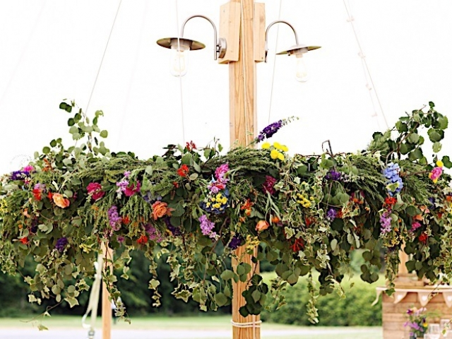 Floral chandelier, hanging flowers, floral installation, floral hoop, wild flowers, vibrant garden flowers, boho wedding flowers, dorset, marquee wedding, hampshire, purbecks, beach wedding