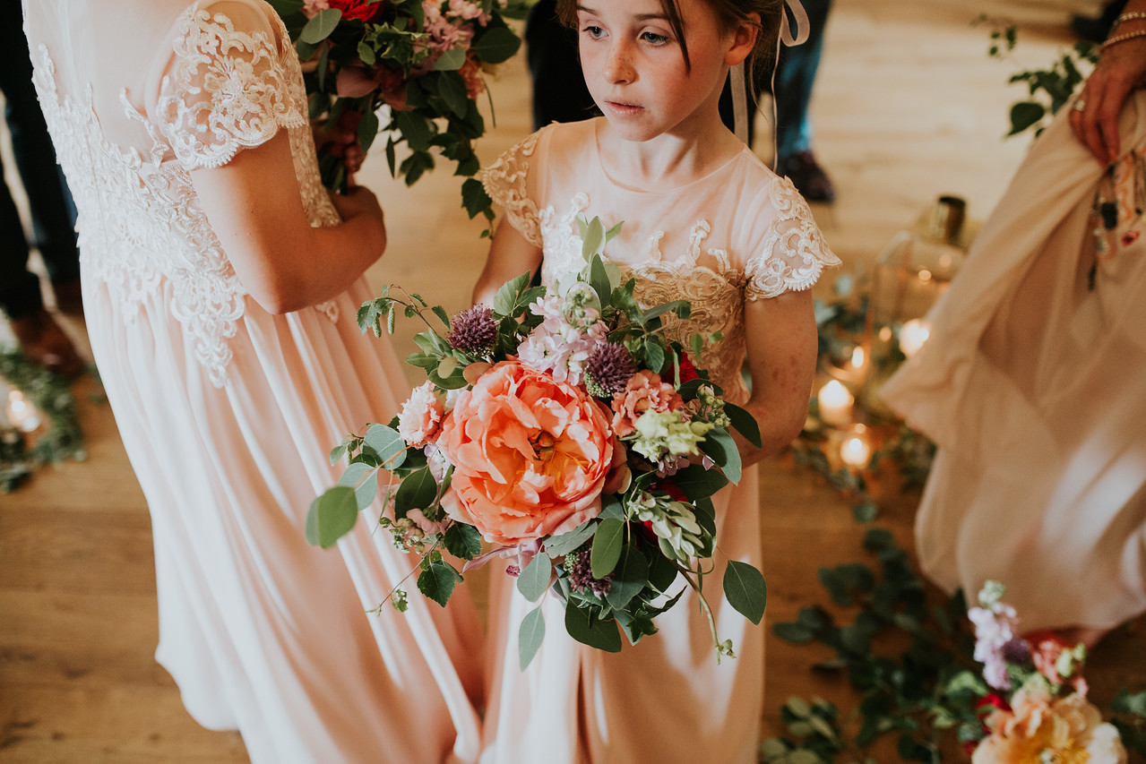 Burley Manor wedding, flower girl, bridesmaid, bouquet, peony, rustic wedding flowers, ceremony flowers, aisle decor, candle light styling