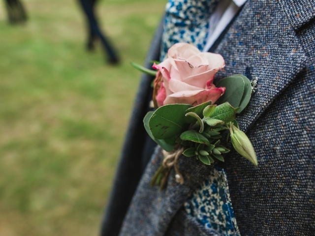 pink garden rose buttonhole, groom, best man, Cain Manor Hampshire