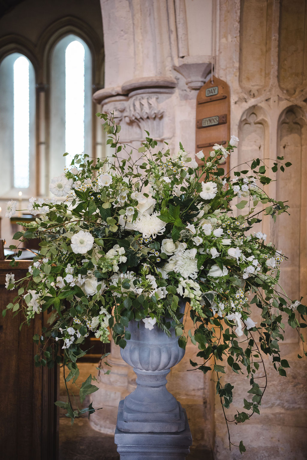 Church ceremony, church flowers, church wedding, white wedding flowers, pew ends, aisle flowers, garden flowers, luxury wedding flowers, pedestal arrangement, Dorset Hampshire