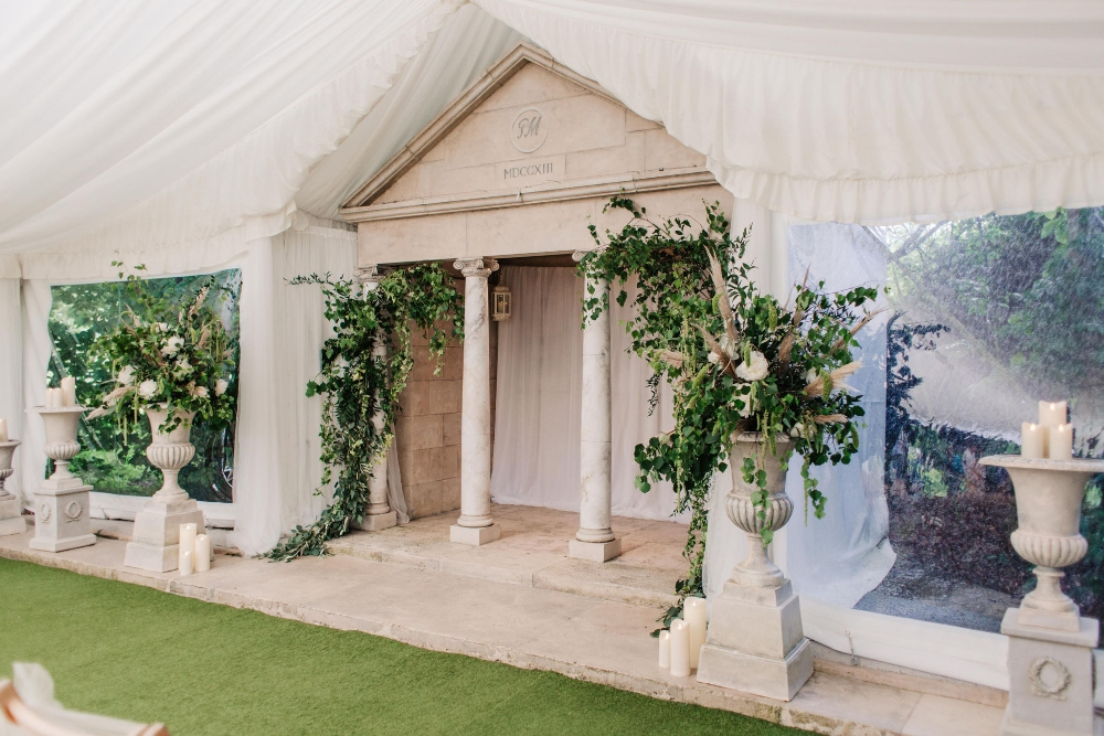 Parley manor outdoor wedding ceremony marquee, foliage wedding, rustic, wild, pampas grass, dorset wedding florist